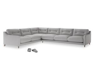 Xl Left Hand Slim Jim Corner Sofa in Flint brushed cotton