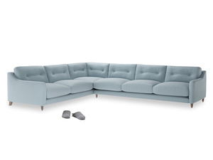 Xl Left Hand Slim Jim Corner Sofa in Soothing blue washed cotton linen