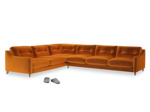 Xl Left Hand Slim Jim Corner Sofa in Spiced Orange clever velvet