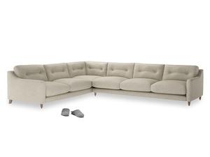 Xl Left Hand Slim Jim Corner Sofa in Shell Clever Laundered Linen