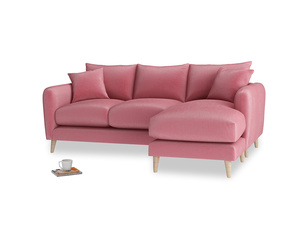 Large right hand Squishmeister Chaise Sofa in Blushed pink vintage velvet