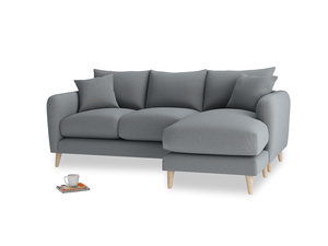 Large right hand Squishmeister Chaise Sofa in Dusk vintage linen