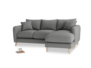 Large right hand Squishmeister Chaise Sofa in French Grey brushed cotton