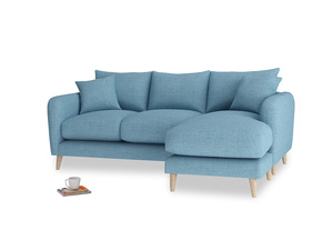 Large right hand Squishmeister Chaise Sofa in Moroccan blue clever woolly fabric