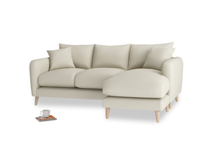 Large right hand Squishmeister Chaise Sofa in Pale rope clever linen