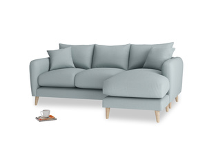 Large right hand Squishmeister Chaise Sofa in Quail's egg clever linen