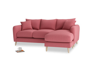 Large right hand Squishmeister Chaise Sofa in Raspberry brushed cotton