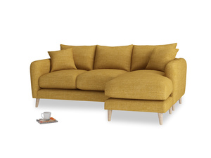 Large right hand Squishmeister Chaise Sofa in Mellow Yellow Clever Laundered Linen