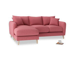 Large left hand Squishmeister Chaise Sofa in Raspberry brushed cotton