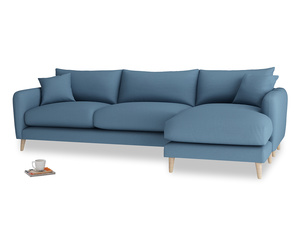 XL Right Hand  Squishmeister Chaise Sofa in Easy blue clever linen
