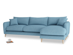 XL Right Hand  Squishmeister Chaise Sofa in Moroccan blue clever woolly fabric