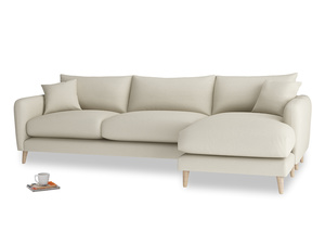 XL Right Hand  Squishmeister Chaise Sofa in Pale rope clever linen