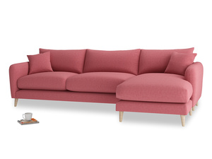 XL Right Hand  Squishmeister Chaise Sofa in Raspberry brushed cotton