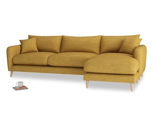 XL Right Hand  Squishmeister Chaise Sofa in Mellow Yellow Clever Laundered Linen