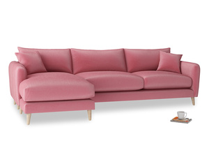 XL Left Hand  Squishmeister Chaise Sofa in Blushed pink vintage velvet