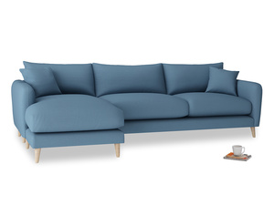 XL Left Hand  Squishmeister Chaise Sofa in Easy blue clever linen
