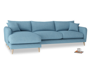 XL Left Hand  Squishmeister Chaise Sofa in Moroccan blue clever woolly fabric