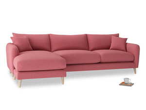 XL Left Hand  Squishmeister Chaise Sofa in Raspberry brushed cotton