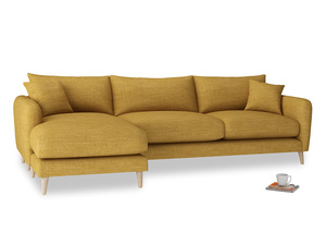 XL Left Hand  Squishmeister Chaise Sofa in Mellow Yellow Clever Laundered Linen