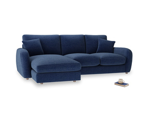 Large left hand Easy Squeeze Chaise Sofa in Ink Blue wool