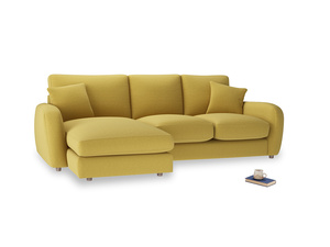Large left hand Easy Squeeze Chaise Sofa in Maize yellow Brushed Cotton