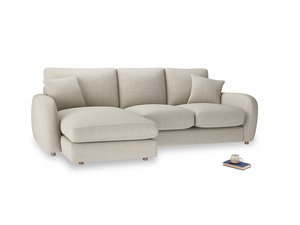 Large left hand Easy Squeeze Chaise Sofa in Thatch house fabric