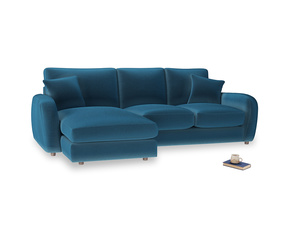 Large left hand Easy Squeeze Chaise Sofa in Twilight blue Clever Deep Velvet