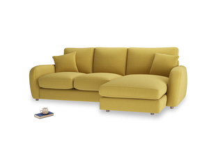 Large right hand Easy Squeeze Chaise Sofa in Maize yellow Brushed Cotton