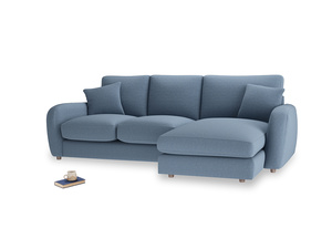 Large right hand Easy Squeeze Chaise Sofa in Nordic blue brushed cotton