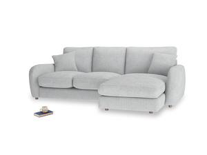 Large right hand Easy Squeeze Chaise Sofa in Pebble vintage linen