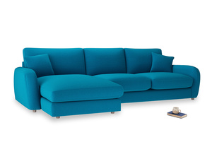 XL Left Hand  Easy Squeeze Chaise Sofa in Bermuda Brushed Cotton