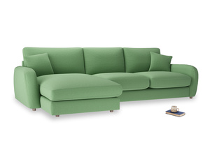 XL Left Hand  Easy Squeeze Chaise Sofa in Clean green Brushed Cotton
