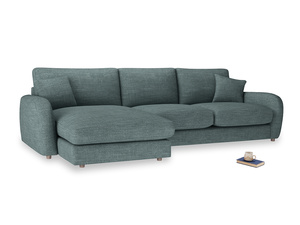 XL Left Hand  Easy Squeeze Chaise Sofa in Anchor Grey Clever Laundered Linen