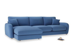XL Left Hand  Easy Squeeze Chaise Sofa in English blue Brushed Cotton