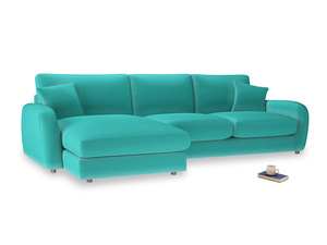 XL Left Hand  Easy Squeeze Chaise Sofa in Fiji Clever Velvet