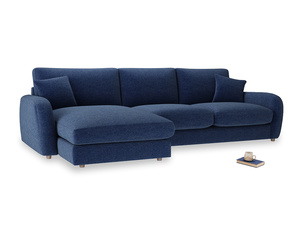XL Left Hand  Easy Squeeze Chaise Sofa in Ink Blue wool
