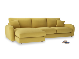 XL Left Hand  Easy Squeeze Chaise Sofa in Maize yellow Brushed Cotton