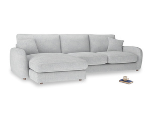 XL Left Hand  Easy Squeeze Chaise Sofa in Pebble vintage linen