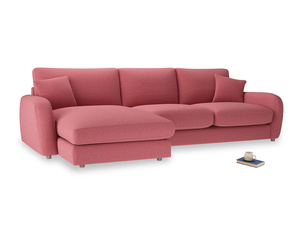 XL Left Hand  Easy Squeeze Chaise Sofa in Raspberry brushed cotton