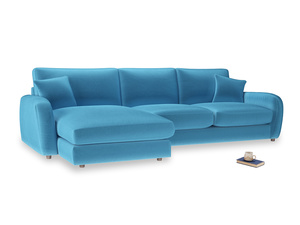 XL Left Hand  Easy Squeeze Chaise Sofa in Teal Blue plush velvet