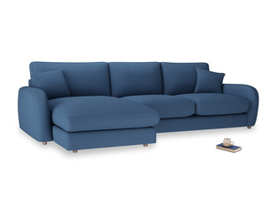 XL Left Hand  Easy Squeeze Chaise Sofa in True blue Clever Linen