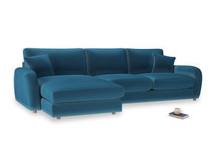 XL Left Hand  Easy Squeeze Chaise Sofa in Twilight blue Clever Deep Velvet
