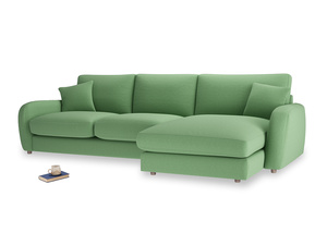 XL Right Hand  Easy Squeeze Chaise Sofa in Clean green Brushed Cotton
