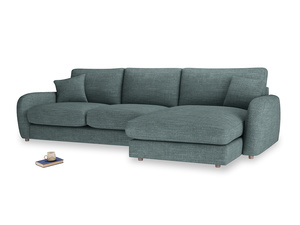 XL Right Hand  Easy Squeeze Chaise Sofa in Anchor Grey Clever Laundered Linen