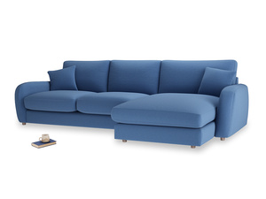 XL Right Hand  Easy Squeeze Chaise Sofa in English blue Brushed Cotton