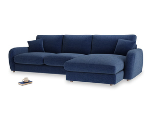 XL Right Hand  Easy Squeeze Chaise Sofa in Ink Blue wool