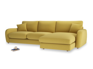XL Right Hand  Easy Squeeze Chaise Sofa in Maize yellow Brushed Cotton