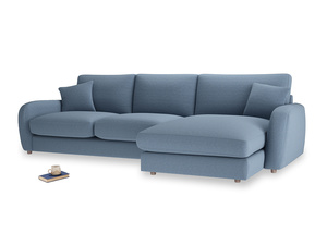 XL Right Hand  Easy Squeeze Chaise Sofa in Nordic blue brushed cotton