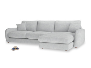 XL Right Hand  Easy Squeeze Chaise Sofa in Pebble vintage linen