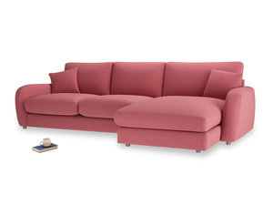 XL Right Hand  Easy Squeeze Chaise Sofa in Raspberry brushed cotton
